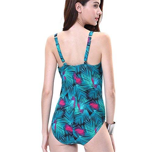 MIAO El traje de baño de las mujeres atractivas de la manera era cojín fino del pecho de la correa con la correa ajustable del hombro Swimwear ajustable Green