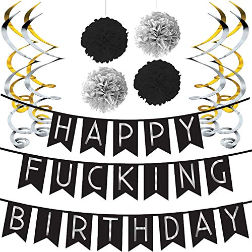 Sterling James Co. Funny Birthday Party Pack - Black & Silver Happy Birthday Bunting, Poms, and Swirls Pack- Birthday Decorations - 21st - 30th - 40th - 50th Birthday Party Supplies -