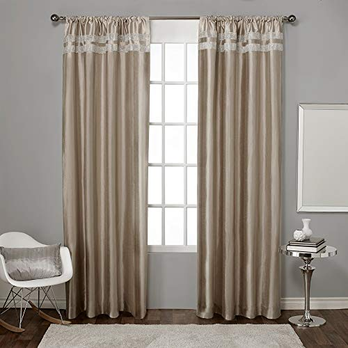 Exclusive Home Glitz Rod Pocket Window Curtain Panels (Set of 2), Taupe, 54