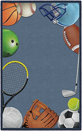 (Brumlow Mills EW10290-5x8 Play Ball Children Sports Area Rug, 5' x 8', Blue, Multi-Colored)