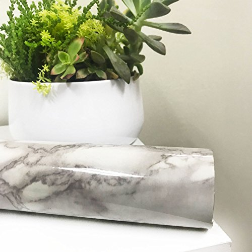 All Purpose Self Adhesive Marble Vinyl Roll - Modern Design Granite Wallpaper Film for Home Decor Living Room Kitchen Furniture and Shelves Liner - Peel and Stick Contact Paper (2 Rolls) by Lutema (Image #1)