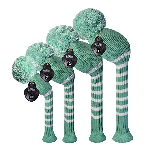 - Scott Edward Mint Green Color Classic Stripe Style Golf Club Head Covers, Acrylic Yarn Double-Layers Knitted, with Rotatable Number Tags Set of 4