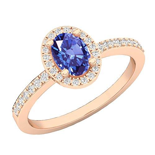 Dazzlingrock Collection 10K 7X5 MM Oval Tanzanite & Round Diamond Ladies Halo Engagement Ring, Rose Gold, Size 8 ()