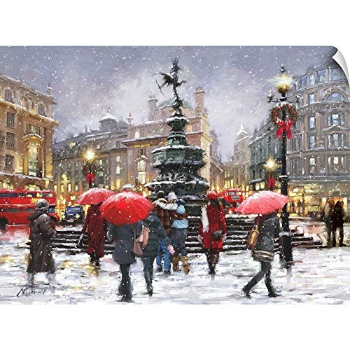 (CANVAS ON DEMAND Picadilly in Snow Landscape Wall Peel Art Print, 36