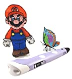 Bundle LITTLE MINDZ 3D Printing Pen With LCD screen For 3D Printing and 20 Color Filament (10 ABS & 10 PLA)Kit (Purple)