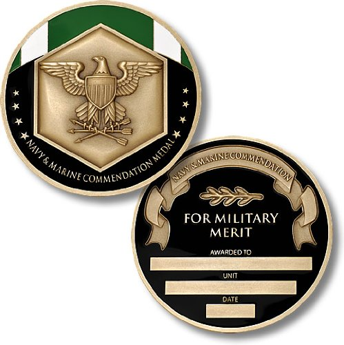 Navy and Marine Commendation Service Medal Coin - Engravable Challenge Coin (Coin Bronze Medal)
