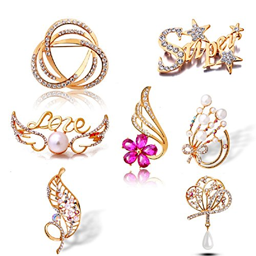 Brooch Gift Set (18K Gold Plated 7 Styles Women Colorful Rhinestone Brooch Pins Set Fashion Christmas Gifts Jewelry (set 02))