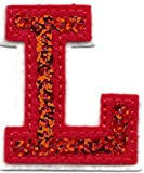 """[Single Count] Custom and Unique (2"""" by 1 5/8"""" Inches) """"Alphabet"""" Letter L American Monogram Letters Cool Sequin Script Flashy Capital Iron On Embroidered Applique Patch {Red & White Colors}"""