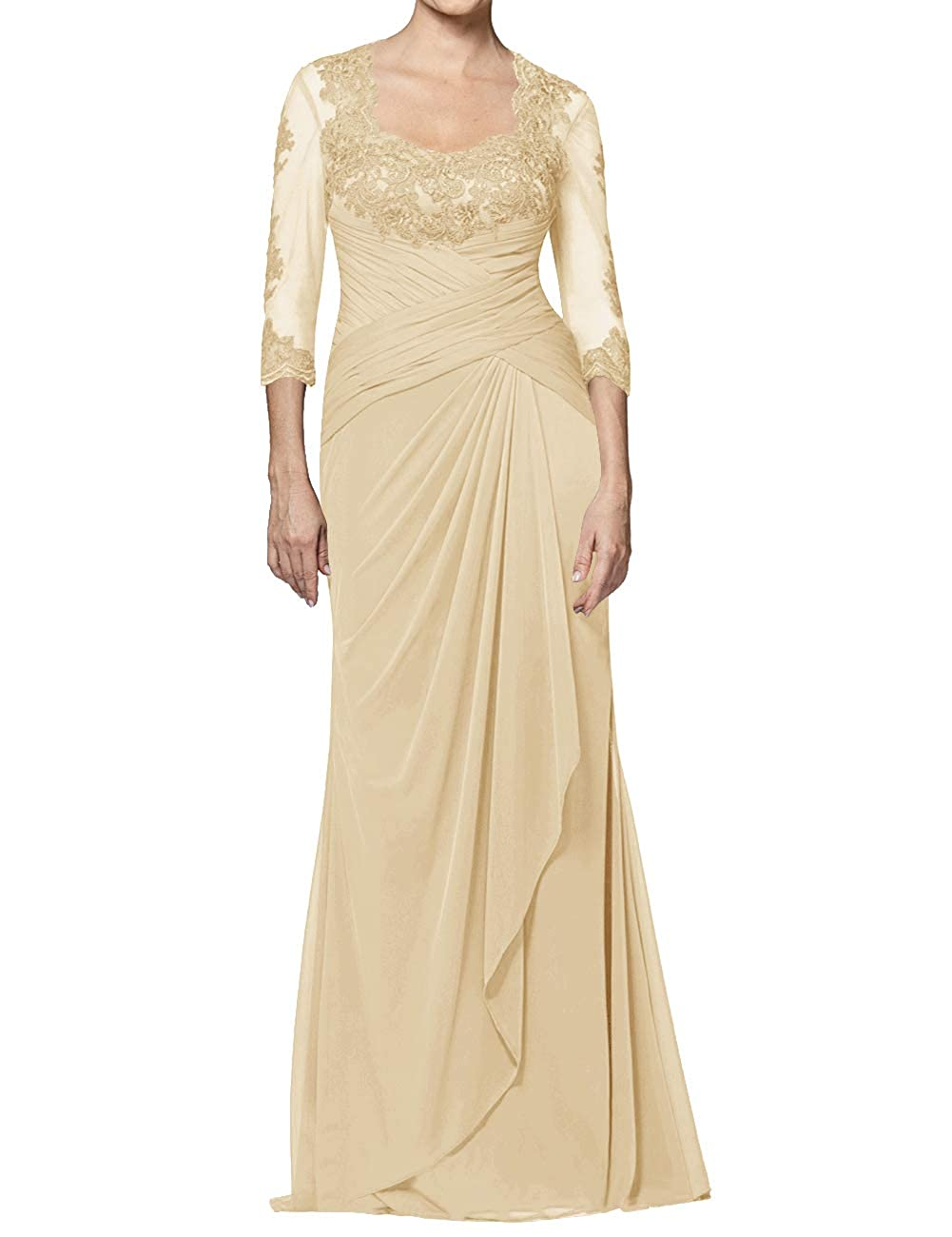 Champagne Mother of The Bride Dresses Long Appliques Evening Party Prom Gown for Women