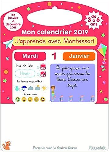 Mon Calendrier Fr.Amazon Fr J Apprends Avec Montessori Mon Calendrier