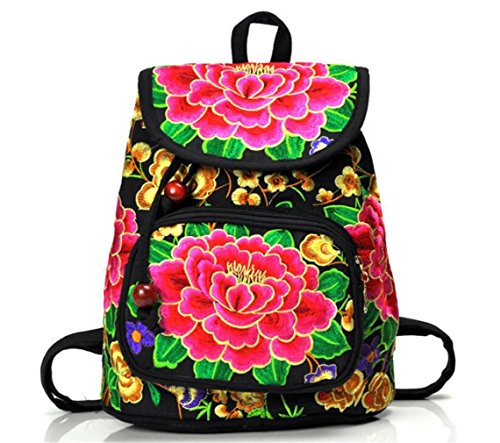 Nacional bordado Classic Vintage mujeres bordado Satchel Viajes Escuela Mochila Mochila bolsa de hombro, girasol (Amarillo) - A1MZFBB001SF01 red peony