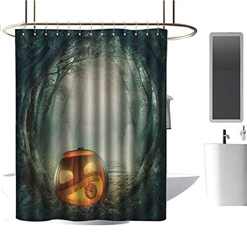 TimBeve Shower Curtain Halloween,Drawing of Scary Halloween Pumpkin Enchanted Forest Mystic Twilight Party Art,Orange Teal,Washable,Waterproof,Mildew Resistant,Anti Bacterial -