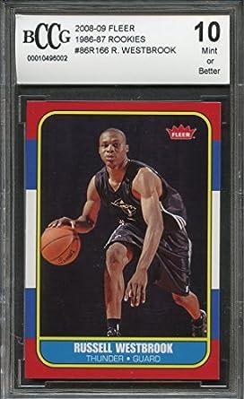 Amazon.com: 2008-09 fleer 1986-87 rookies #86r166 RUSSELL WESTBROOK rookie card BGS BCCG 10