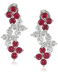Rhodium Plated Sterling Silver Round Created White Sapphire and Created Ruby Drop Earrings