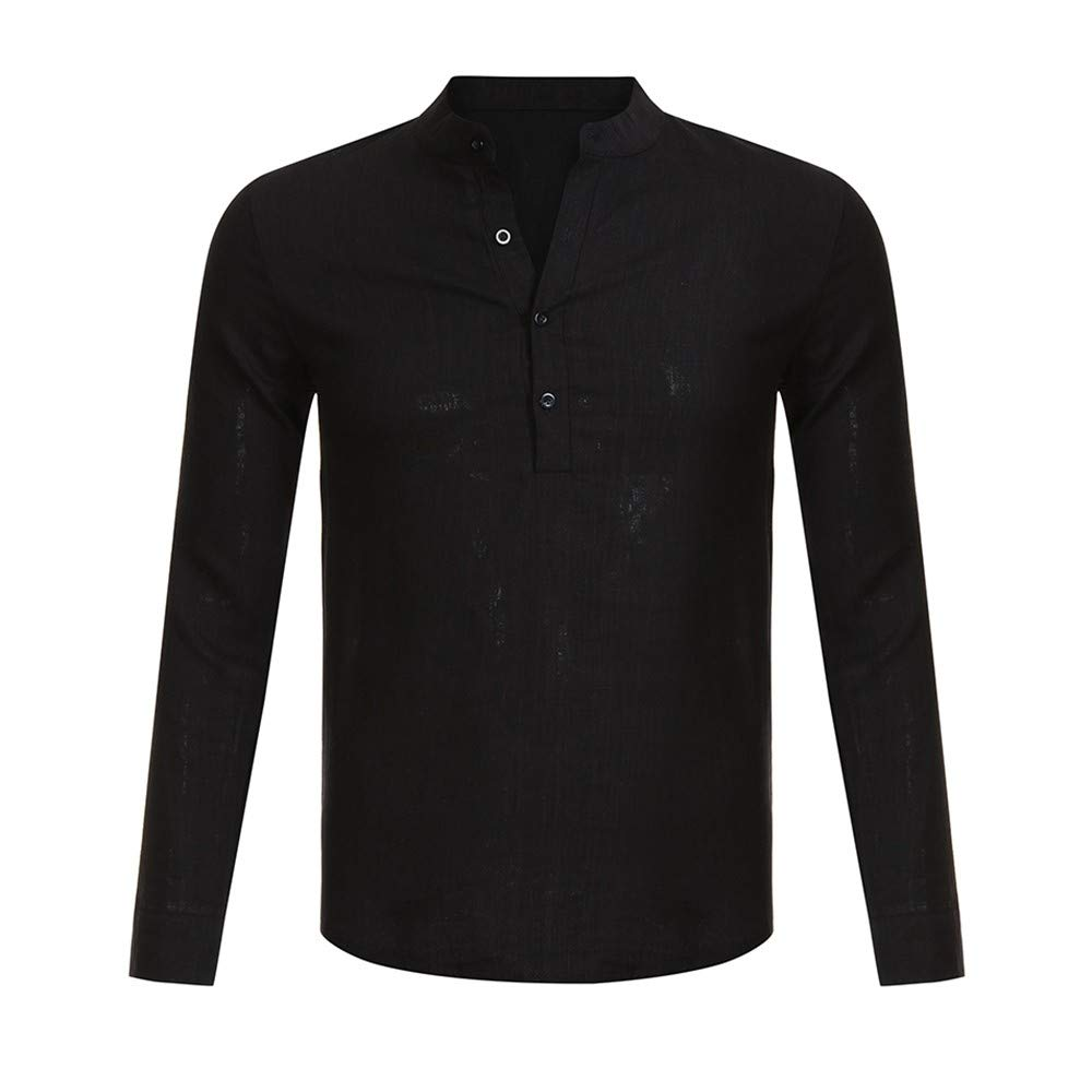 NewlyBlouW Mens Blouse, Linen Long Sleeve V Neck Button Up Top Male Casual Comfortable Business Fit T Shirt Black