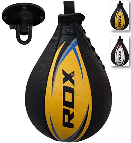 RDX Cow Hide Leather Boxing Speed Bag MMA Ball Swivel Punching Workout Training – DiZiSports Store