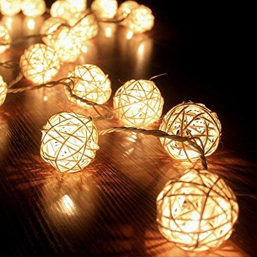 FRE 3M Sturm cremeweiß 20 Rattan-Ball Lichterkette String Lights - Ideal für Hochzeit, Weihnachten, Party, Heim-Dekoration