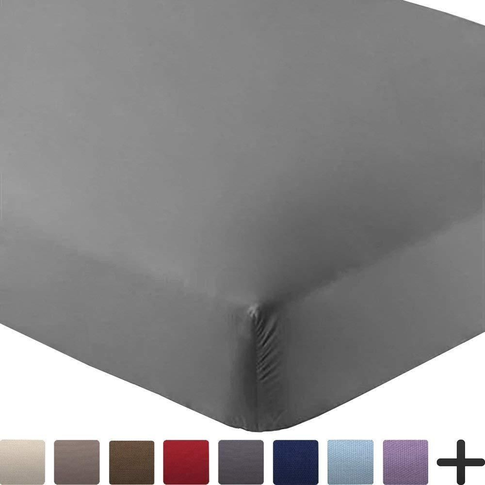 Bare Home Fitted Bottom Sheet Premium 1800 Ultra-Soft Wrinkle Resistant Microfiber, Hypoallergenic, Deep Pocket (Twin, Grey)