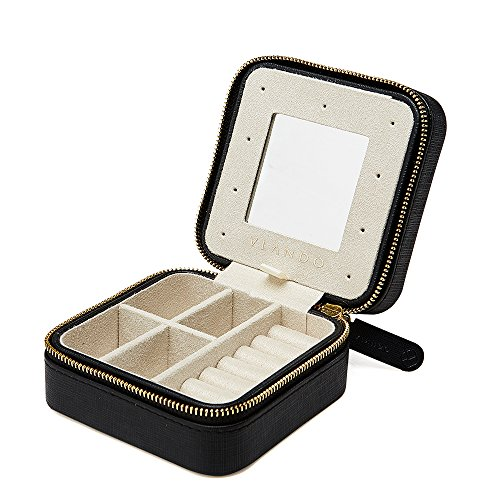 Vlando Small Travel Jewelry Box Organizer - Refined Carry-on Jewelries Storage Case Rings Earrings Necklace (Black)