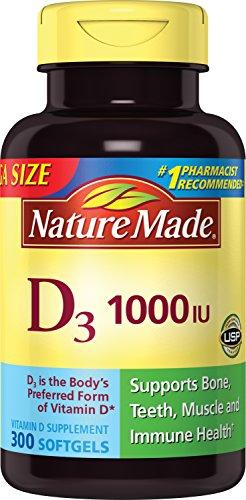 Nature Made Vitamin D3 1000 IU, Mega Size, 300-Count Liquid Softgels