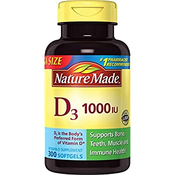 Nature Made Vitamin D3 1000 IU, 300-Count Liquid Softgels