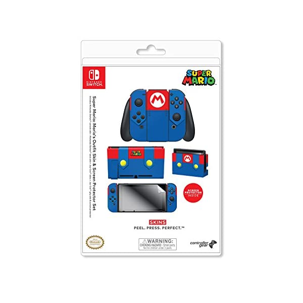 Controller Gear Officially Licensed Nintendo Switch Skin & Screen Protector Set - Super Mario - Mario's Outfit - Nintendo Switch 8