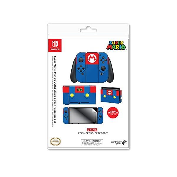 Controller Gear Nintendo Switch Skin & Screen Protector Set - Super Mario - Mario's Outfit - Nintendo Switch 8