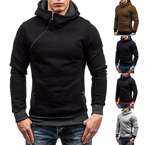 Forthery Men's Long sleeve Zip-Up Casual Fleece Hoodie Sweatshirt Jacket (Tag M= US S, Brown) (118 Costume Tumblr)