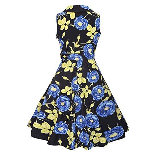 Honghu Elegante Vintage Vestido Sin Mangas de la Vendimia para Mujer De Impresión por la rodilla Vestido Azul