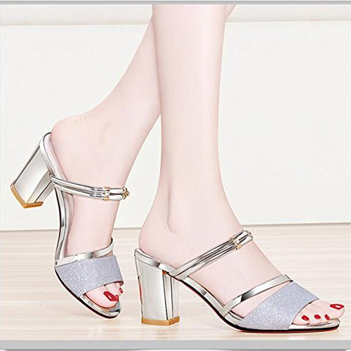 La cn35 Plata Rhinestone Party Club Heel De Chanclas uk3 amp; Tamaño Zapatos Silver Gold color Summer Duo Mujer Shoes Casual Evening Para 5 Chunky Sandals Dress Sandalias Oro Eu36 Elegante PfqnpCwv
