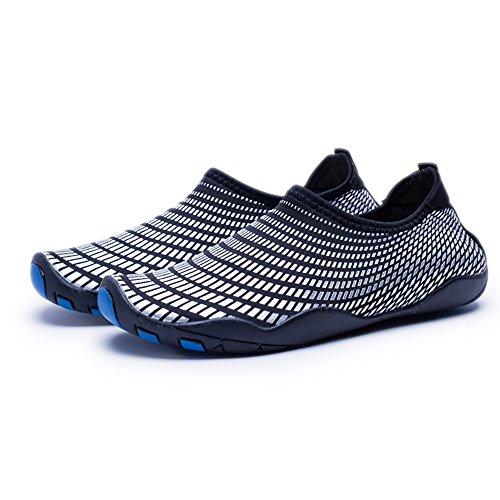 WateLves Wasserschuhe Mens Womens Beach Swim Schuhe Quick-Dry Aqua Socken Pool Schuhe für Surf Yoga Wassergymnastik Silber schwarz