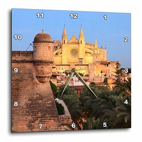 3dRose Danita Delimont - Spain - Spain, Mallorca, Palma de Mallorca. La Seu Cathedral at dusk. - 10x10 Wall Clock (dpp_277910_1) by 3dRose