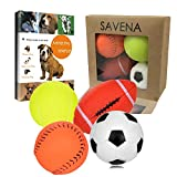 Savena Squeaky Dog Ball Bite Resistant Squeaker No Stuffing Dog Toy Assorted Types Colors,4-Pack (Medium Sport Ball Pack of 4)