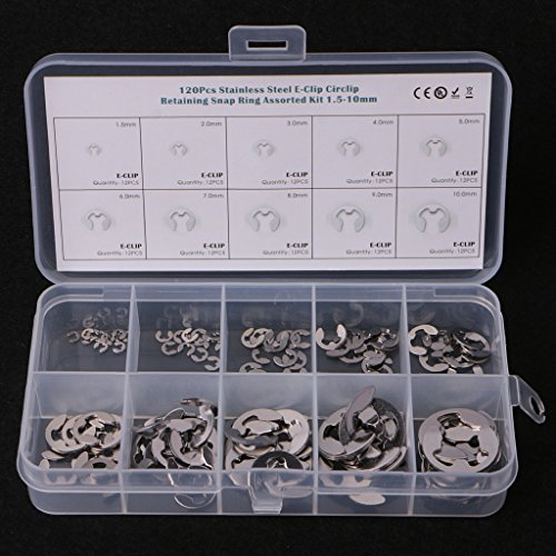 (Goodqueen 120PCS 1.5mm-10mm E-Clip Assortment Kit Stainless Steel Retaining Circlip Set)