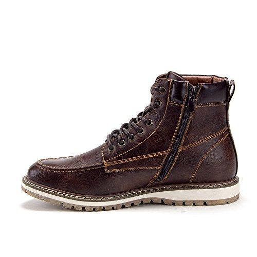 Jaime Aldo Mens C-2817 Casual Chaussures À Lacets Zippées Bottes Marron Foncé