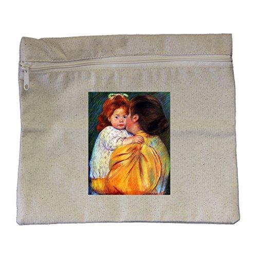 Maternal Kiss 1896 (Cassat) Canvas Zippered Pouch Makeup Bag - 1896 Canvas