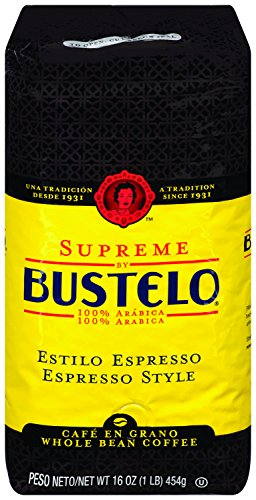 Supreme By Cafe Bustelo, Espresso Style Coffee, Whole Bean, 16 Ounce (Pack of 8)