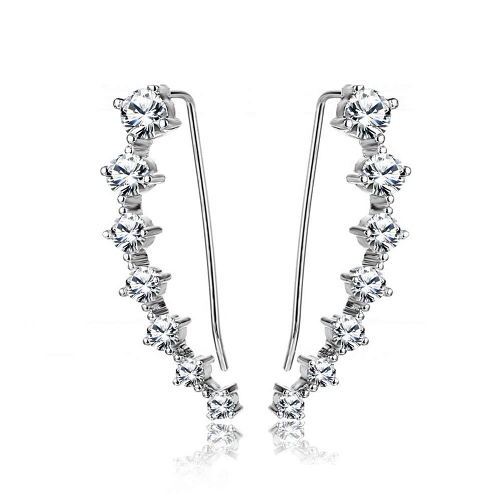 YAN & LEI Sterling Silver Sweep up Ear Pin Crawler Cuff Wrap Climber Earrings with 7 CZ Stones by YAN & LEI