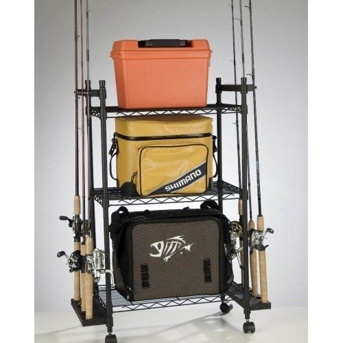 Keep Fishing Poles, Rods, Reels, Tackle and More Neatly Organized. This Storage Cart with Wheels Has Adjustable Shelves and Hooks. The Rack Will Fit Nicely in a Corner of Your Garage and Keep All Your Fishing Tools and Essentials in One Place.