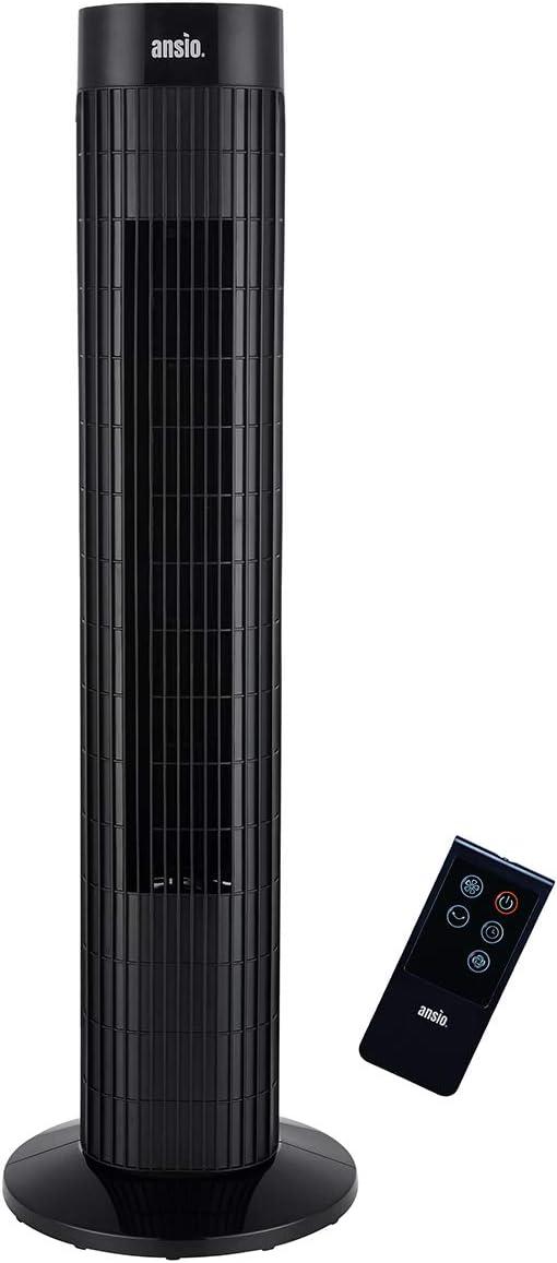 ANSIO Ventilador de Torre oscilante de 30 Pulgadas (76,2 cm) con Mando a Distancia, 3 velocidades, 3 Modos de Viento y Cable Largo de 1,75 m.-Negro (Pilas NO Incluidas) 2 años de garantía