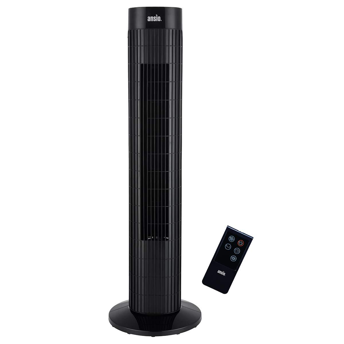 2 Jahre Garantie 30 Zoll Schwarz Oszillierender Turmventilator mit Fernsteuerung S/äulenventilator 3-stufigem Windmodus mit 3 Drehzahlen und langem Kabel Batterien NICHT im enthalten 1,75m