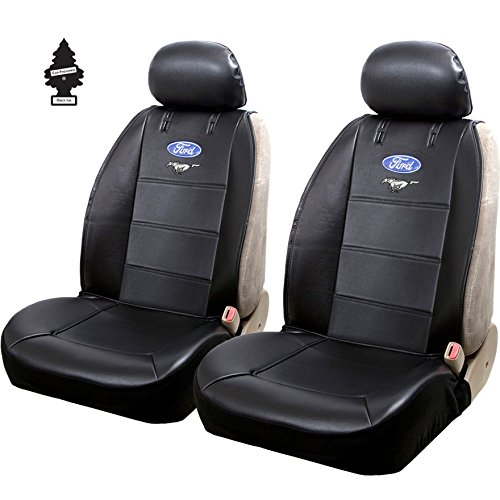 Plasticolor New Pair of Ford Blue Oval Mustang Logo Universal Sideless Seat Cover w/HeadRest and Air Freshener