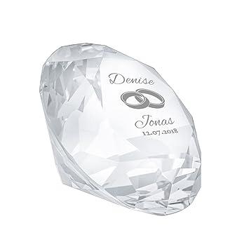 c730f0603d Gravado - Cristal en Verre en Forme de Diamant avec Gravure pour Le Mariage  - Motif Anneaux - Personnalisé ...