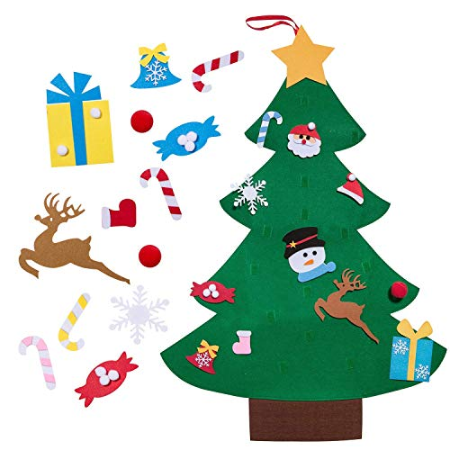 KARIDUN Felted Christmas Tree Pendant New 3.75'' DIY Christmas Tree Toy Kids Manual Puzzle Game Non-Woven Wall Hanging Ornaments