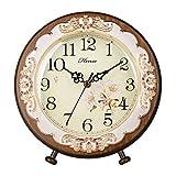HENSE Victorian Garden Living Room Decorative Desk Clocks Silent Non tick Sweep Second Wooden Table Clock HD10 (Brown)