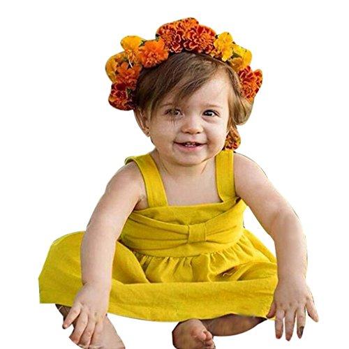 GBSELL Infant Kid Baby Girls Summer Sleeveless Bowknot Pr...