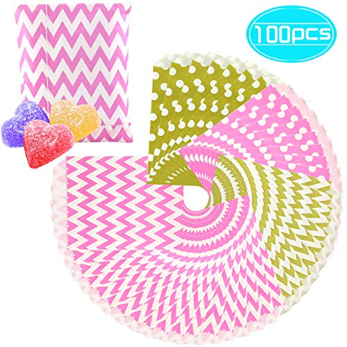 Fyess 100PCS Gold And Pink Candy Treat/Favor Paper Bags, Food Safe Biodegradable Paper Treat Sacks Perfect for Party filled with Small Favors.(Two Color, Two Styles)