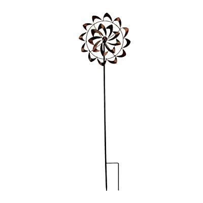 Antique Copper Finish Metal Art Flower Wind Spinner Garden Stake : Industrial & Scientific