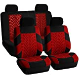 FH-FB071114-SEAT Full Set Travel Master Seat Covers Airbag Ready & Rear Split Bench Red/Black Color-Fit Most Car, Truck, Suv, or Van