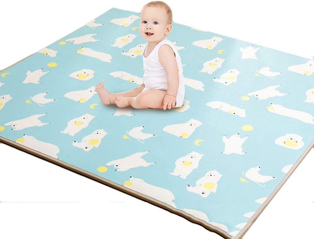 HLMIN 厚い 大 赤ちゃん クロールカーペット 子供用プレイマット 両面 厚さ2cm 柔らかい 防水 滑り止め 無毒 (色 : B, サイズ さいず : 150cmx180cmx2cm)